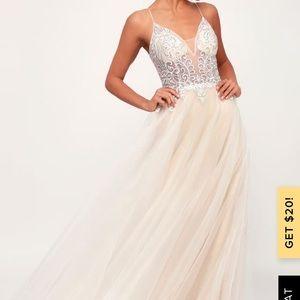 Lulus Giselle White and Nude Rhinestone Maxi Dress